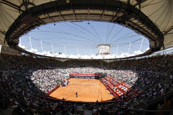 General view of the Hamburg Rothenbaum tennis stadium during a match between Germany's Kiefer and Wawrinka of Switzerland at Hamburg Masters Tennis tournament in Hamburg